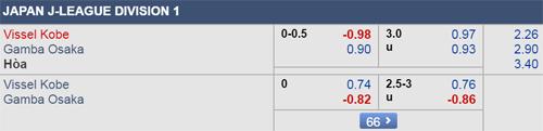 Thông tin tỷ lệ kèo Vissel Kobe vs Gamba Osaka