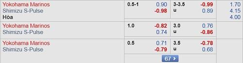 Thông tin tỷ lệ kèo Yokohama Marinos vs Shimizu